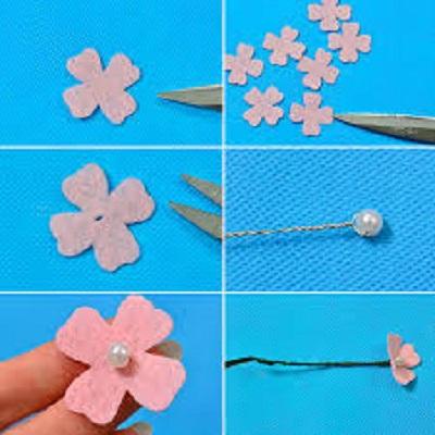 آموزش تهیه شکوفه چهار گلبرگی نمدی با تزئین مروارید